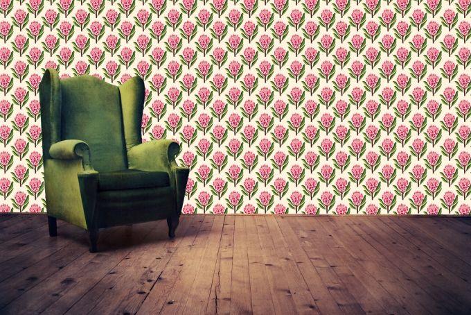 Pretty Proteas Wallpaper by handmade by me on hellopretty.co.za