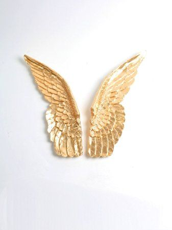 XL Gold Resin Angel Wings Wall Decor Set by White Faux Taxidermy