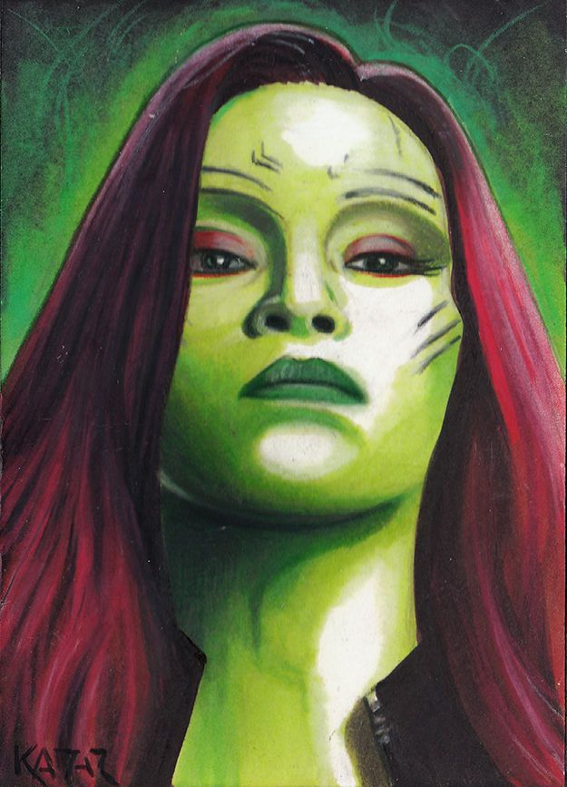 Gamora Zoe Saldana Guardians of the Galaxy Sketch Card by Frank Kadar PSC ACEO