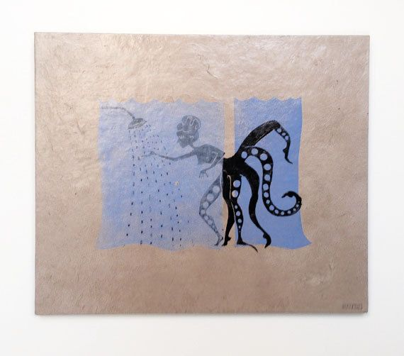 octopus bathroom - linocut varnished and mounted on chipboard