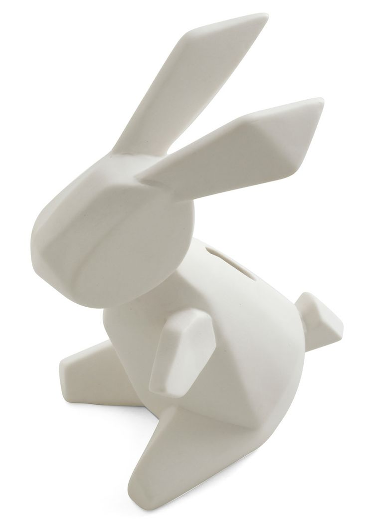 Faceted ceramic bunny money bank