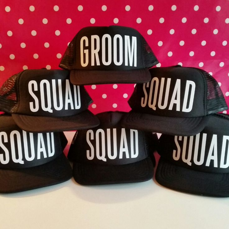 Party Hats are not just for the Girls. This set of Bachelor Party or Stag Party Trucker Hats are a great alternative to Shirts. Great idea for the Groom and Groom's Squad.