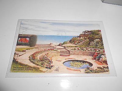 1958 Water Colour Postcard Sunken Garden, East Cliff, Cromer, Norfolk