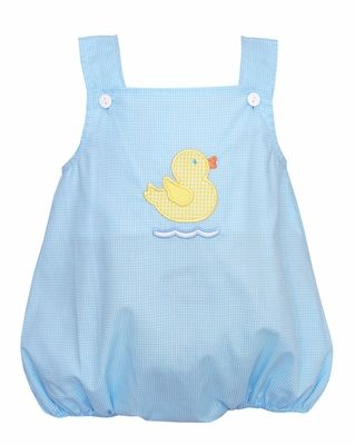 Petit Bebe by Anavini Baby Boys Blue Check Yellow Easter Duck Bubble - Boy
