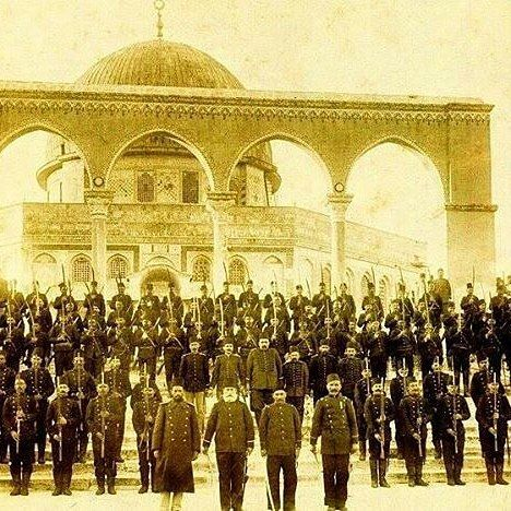 @Regrann  From the Ottoman Archives. Ottoman soldiers outside Dome of the Rock in the year 1900. An amazing historic photograph. May a sincere Muslim army defend the blessed land again one day soon. - #regrann