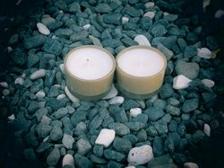 Lime, basil & mandarin soy candles in recycled glass tealight holders