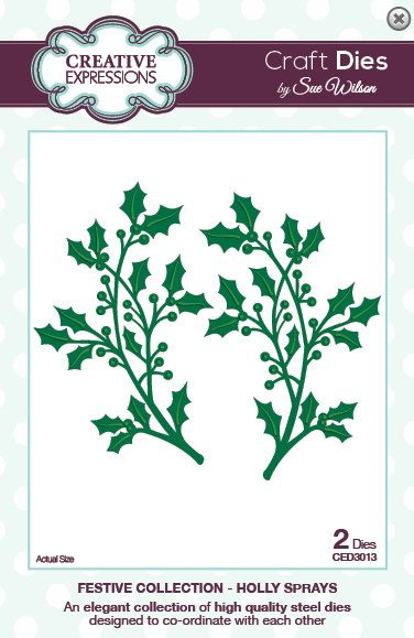 Creative Expressions Sue Wilson Die -Festive Collection - Holly Spray Die -CED3013
