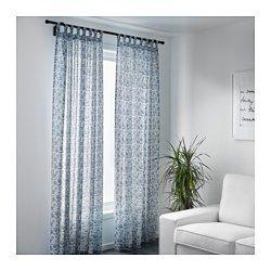 IKEA - MJÖLKÖRT, Gardinenpaar, , Blickdichte Gardinen schirmen Lichteinfall effektiv ab und sorgen für Privatsphäre.Durch Schlaufen an der Oberkante lassen sich die Gardinen direkt an einer Stange aufhängen.