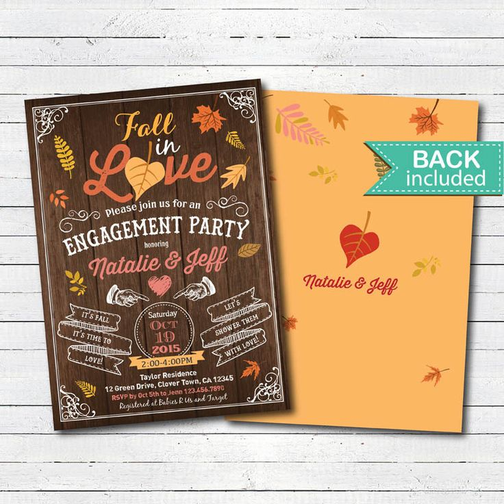 Fall engagement party. Fall in love autumn engagement party, couples shower, bridal shower rustic wood printable digital invite. TX020 by CrazyLime on Etsy https://www.etsy.com/listing/472645999/fall-engagement-party-fall-in-love