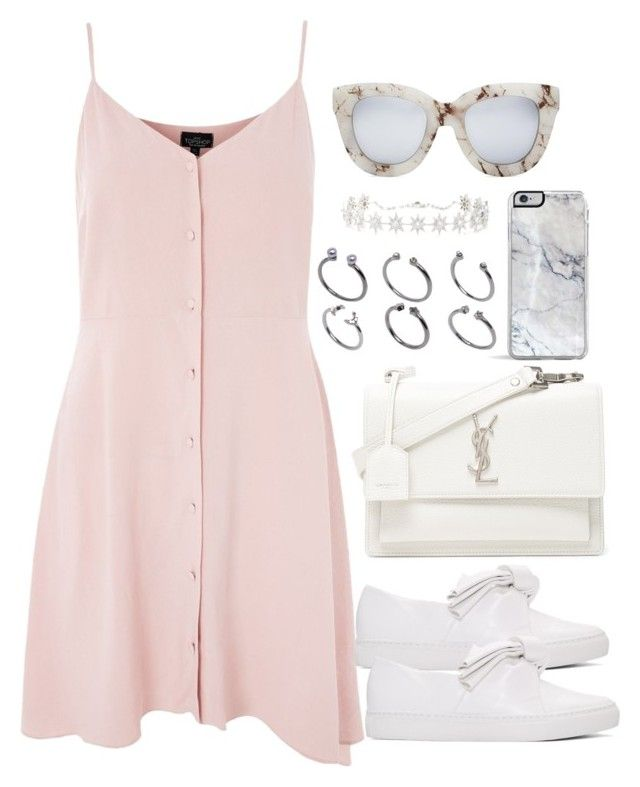"""""""Untitled #4176"""" by theeuropeancloset on Polyvore featuring Topshop, Yves Saint Laurent, Cédric Charlier, ASOS, Forever 21, Quay and Colette Jewelry"""