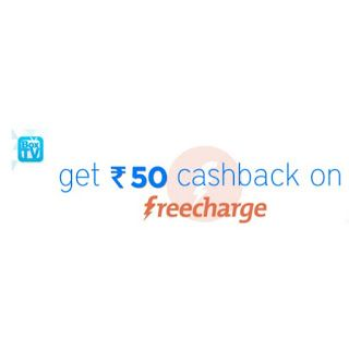 Get 50 cashback on recharge of ₹ 50 or above at freecharge (for all users)
