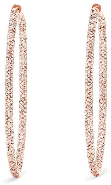 14K Rose Gold Diamond Large Hoop Earrings, 1.91 TC…