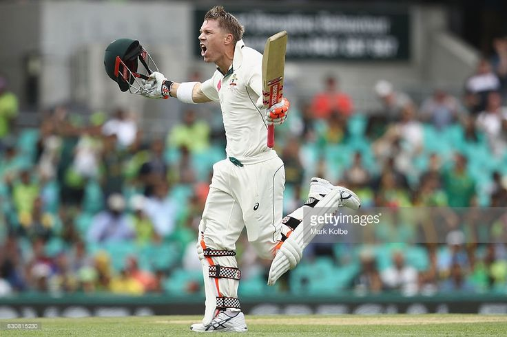 David Warner magic - here he celebrates his first session century during day one of the Third Test match between Australia and Pakistan at Sydney Cricket Ground on January 3, 2017 in Sydney, Australia. Not many have done this before. Warner becomes just the fifth batsman to achieve this feat, and the first since Majid Khan in 1976-77 against New Zealand.