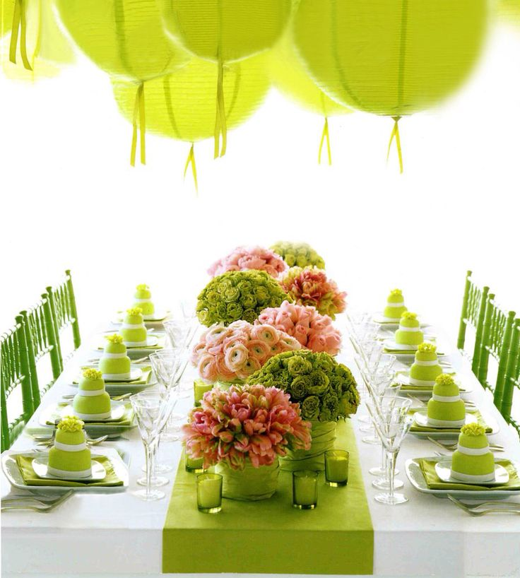 Totally Love This Bold Modern Lime Green And Pink Event Setting With Paper Lanterns