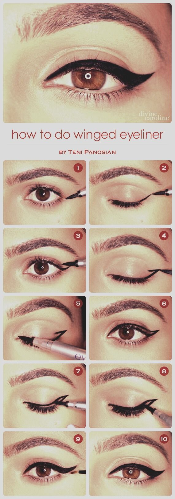 Winged Eyeliner: Where To StartWhen you wing out the liner, make sure to use a liquid eyeliner with a felt tip to do it. The wing should be heading in the direction of your eyebrow.