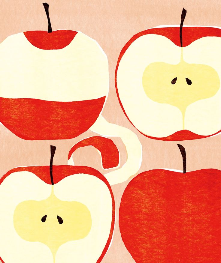 Kazuaki Yamauchi, apples, fruit, print, design, illustration, painting, fabric