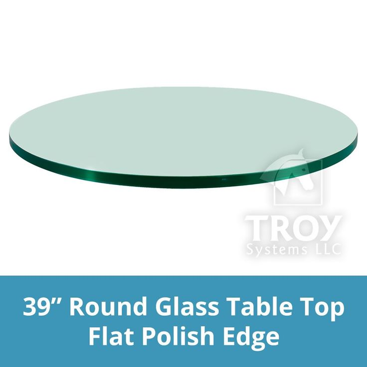 """TroySys Round Glass Table Top, 1/4"""" Thick, Flat Polish Edge, Tempered Glass, 39"""" L"""