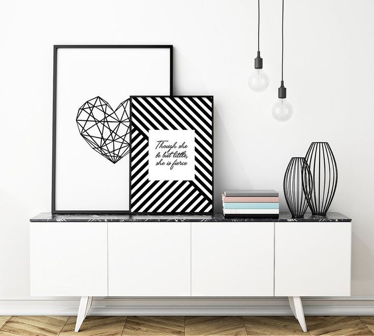 "$12 --- ""Though she be but little, she is fierce"" - Black and white motivational wallart. Abstract Mesh. Worldwide Shipping."