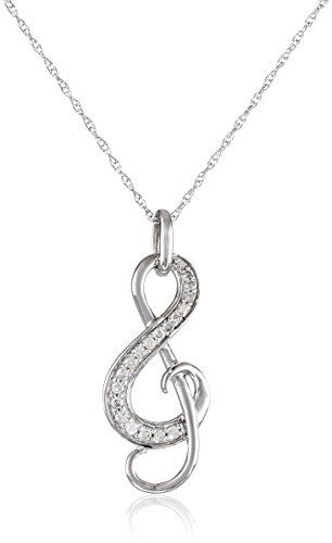 10k white gold and diamond music note pendant necklace 1 for Nancy b fine jewelry