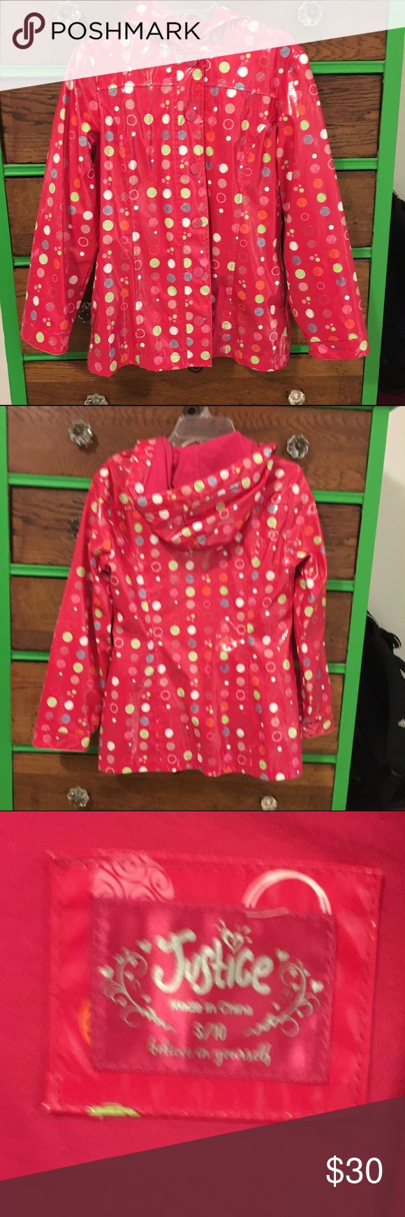 Girls Justice Rain jacket Super cute rain jacket from justice. Girls size 10. Red with multicolored polka dots on it. Buttons down in the front and has a hood in the back. In great condition. Justice Jackets & Coats Raincoats