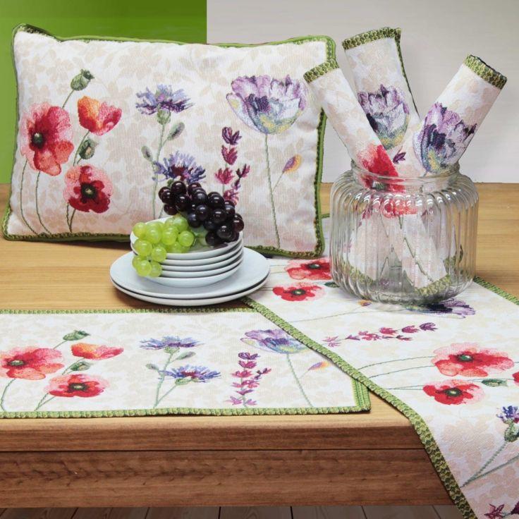 gobelin tischsets romantic garden mit tischl ufer und kissen von sander tischw sche. Black Bedroom Furniture Sets. Home Design Ideas
