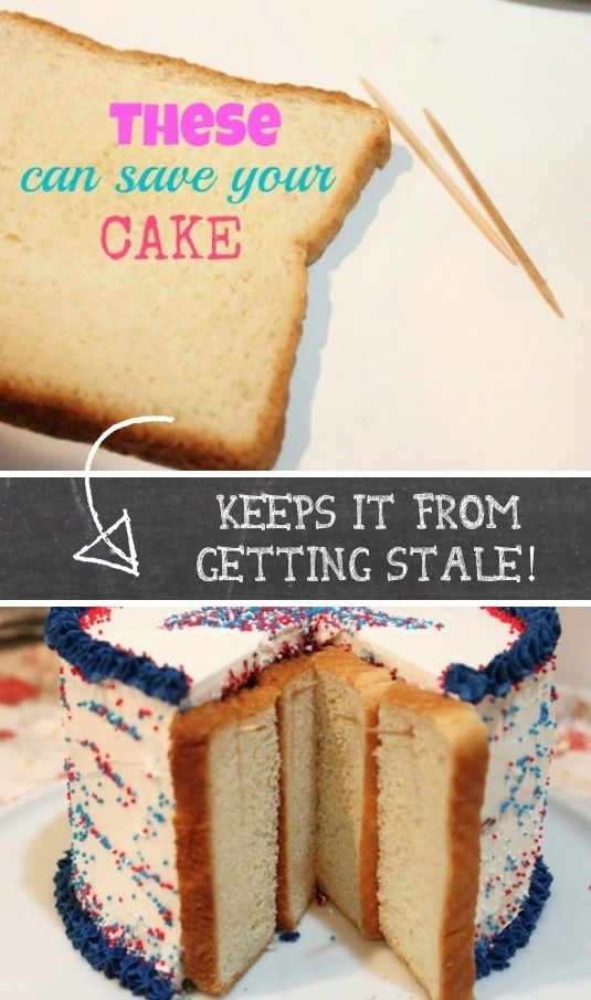 If you've ever taken leftover cake home and went to eat it later, it's just not the same . The edges are always stale and crumbly after sitting out. Next time, place a few pieces of bread on the outer edges to keep it soft and moist!