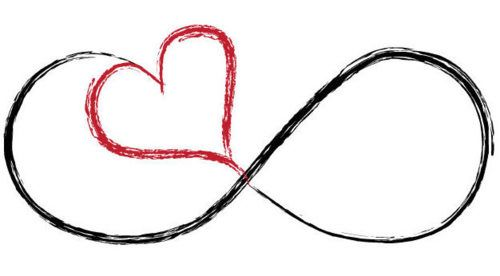 Infinity sign with a heart. Great idea for a bestfriend/friendship tattoo.