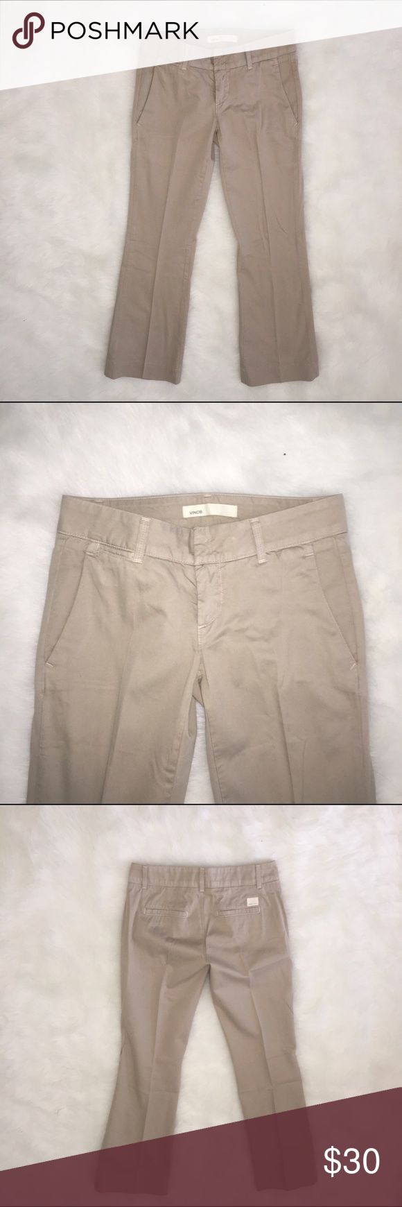 Beige Vince khaki slacks Casual or formal, these beige Vince pants are in good condition to wear almost anywhere. Very comfortable and easily paired with button down shirts and sweaters. Vince Pants Straight Leg