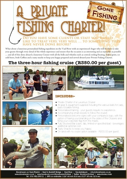 Private Fishing Charters on the Vaal River, catch bass, yellow fish and more from a private chartered Stonehaven Cruiser with onboard bar.