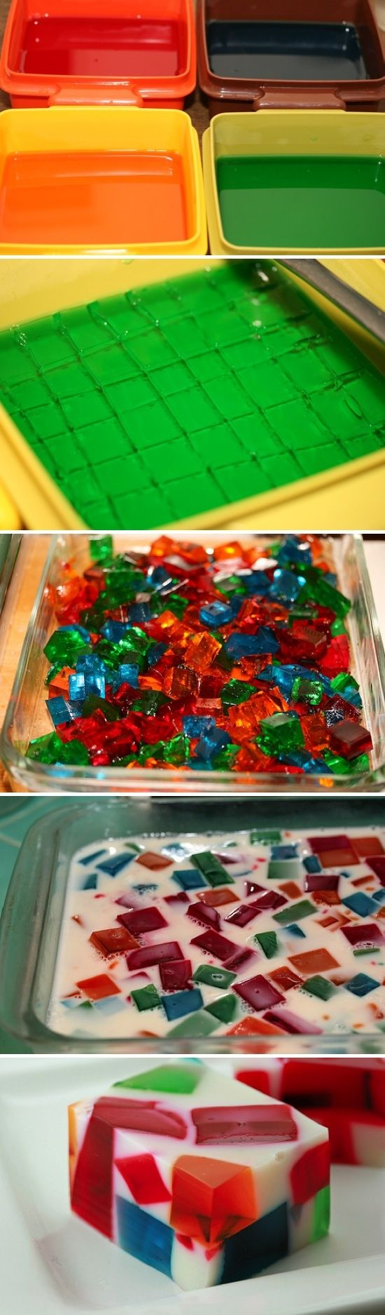 Broken Glass Jello-This is the coolest Jello idea! Although it takes a bit of planning ahead for the Jello to cool, it looks like it would be a lot of fun. Make it into a holiday jello by using festive colors; red, white, and blue for The 4th of July, red and green for Christmas, pastels for Easter, etc