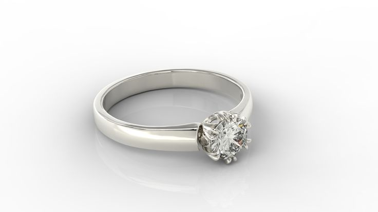 Pierścionek z białego złota z diamentem./ White gold ring with diamond.