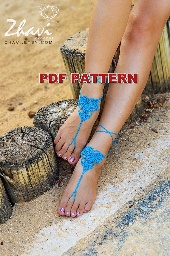 BLUE THREE LEAVES barefoot sandals pattern 15 by ZhaviPattern