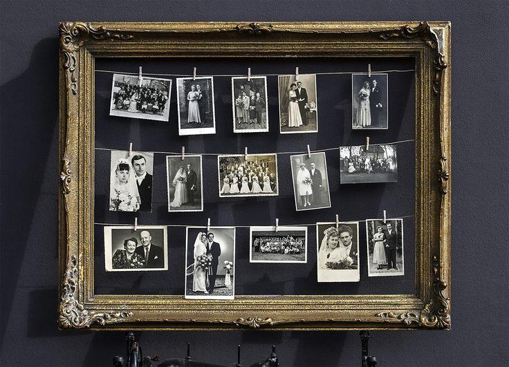 Historische Hochzeitsfotos, verschiedene Bilderrahmen in unterschiedlichen Größen