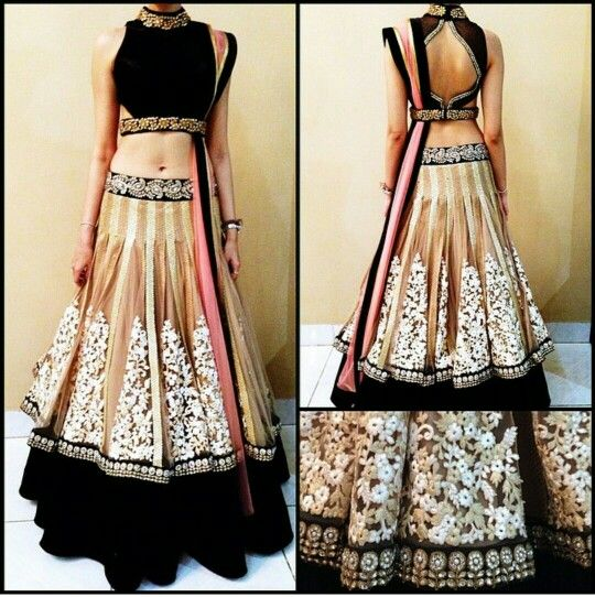 Shape of the lengha is great, love the detailing and the open back.  I'd add a Swiss waist of underbust corset to cover the midriff though