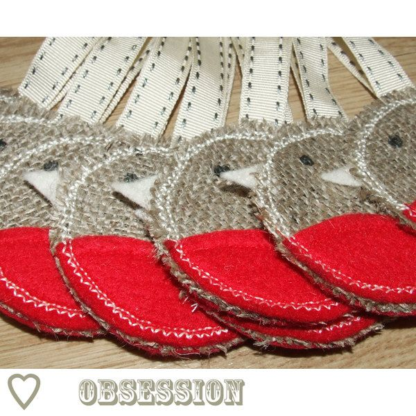 Christmas Tree Rustic Decoration - SET of 3 - Robin Red Breast Ornament ECO Hessian Ivory Red Felt $16 on Etsy