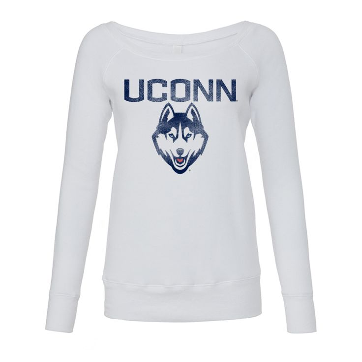Classic UConn® Wide Neck Sponge Fleece: Our distressed and faded UCONN® design meets a modern sponge fleece sweatshirt that can be worn on or off the shoulder. Feminine, cozy and versatile, this sweatshirt is designed with an exceptionally plush fabrication, and at 8.2 oz, it's sure to keep you warm.    Runs small/short and a bit boxy.  What you get:  Soft and luxurious 8.2 oz Wide neckline - on or off shoulder 50% cotton, 50% polyester OFFICIALLY LICENSED UConn® APPAREL