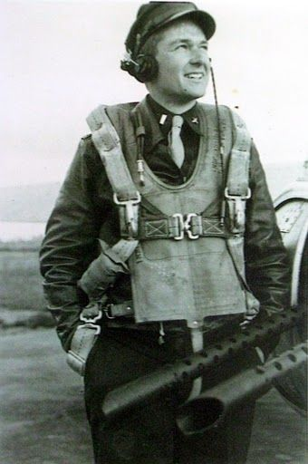 Lt. Floyd Cole is pictured in his uniform wearing his parachute just before climbing aboard the B-17 bomber he piloted on 30 combat missions over German occupied Europe during World War II as part of the American 8th Air Force. Photo provided. 452nd BG Deopham, Norfolk