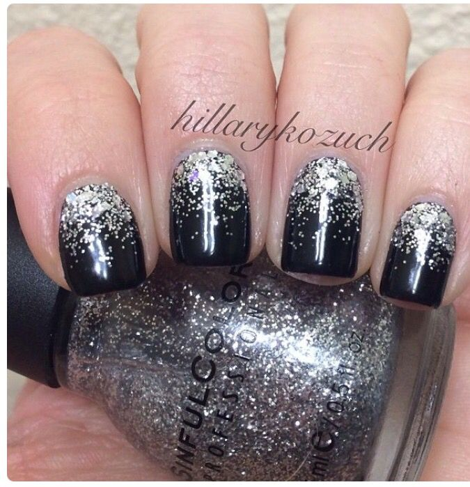 Black sparkle nails