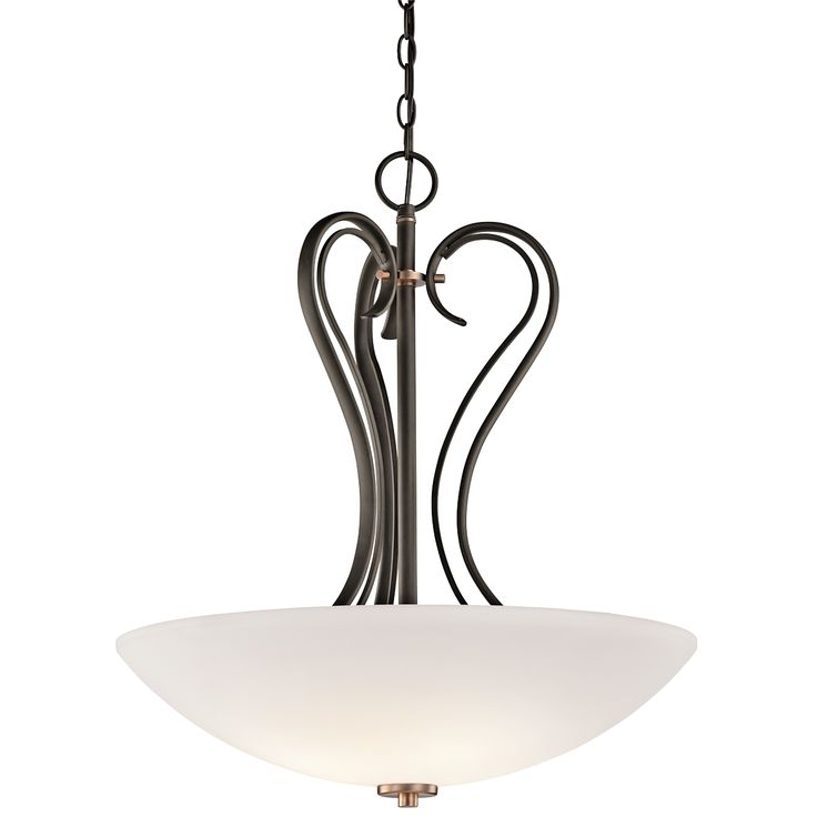 claridge court 3 light inverted pendant in olde bronze kichler