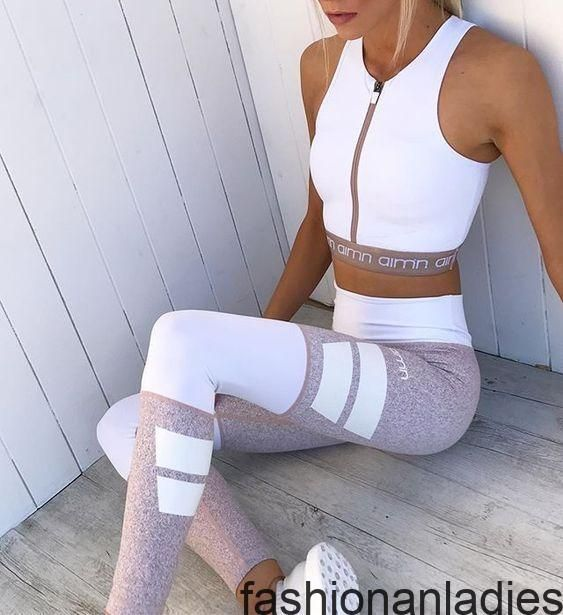 20 Stilvolle Sport Outfits Die Sie Begeistern Werd Begeistern Die Mollige Sie Sportoutfits Stilv Womens Workout Outfits Workout Attire Sport Outfits