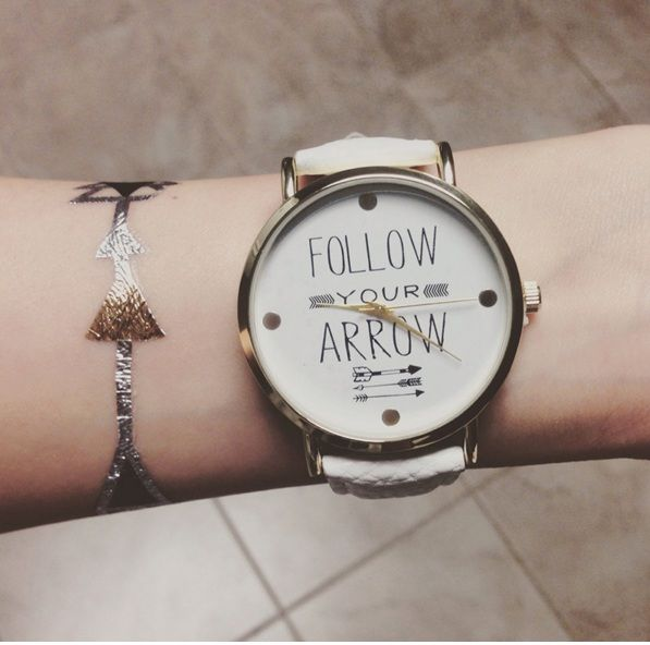 Follow your arrow watch - Quotes watch - Music watch - Inspirational watch - Unique gift by AyoBijou