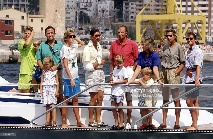 European royalty on King Juan Carlos of Spain's motor cruiser during a family holiday in Palma de Mallorca, August 1990. From left to right, Queen Anne Marie of Greece, Prince Philippos of Greece, ex-King Constantine of Greece with Princess Theodora, Princess Diana, Prince Charles, King Juan Carlos of Spain with Prince William, Queen Sophia of Spain with Prince Harry, Princess Cristina of Spain and Princess Elena of Spain.
