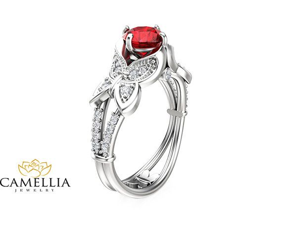 Butterfly Design Ruby Engagement Ring 14K White Gold Natural Ruby Ring Unique…