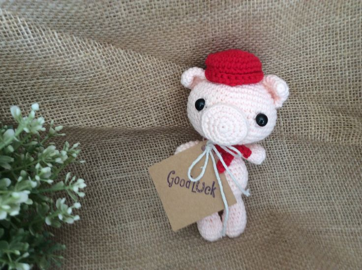 Crochet Little Piggy with red tie with FREE GIFT TAG, Pig Key Ring, Baby…