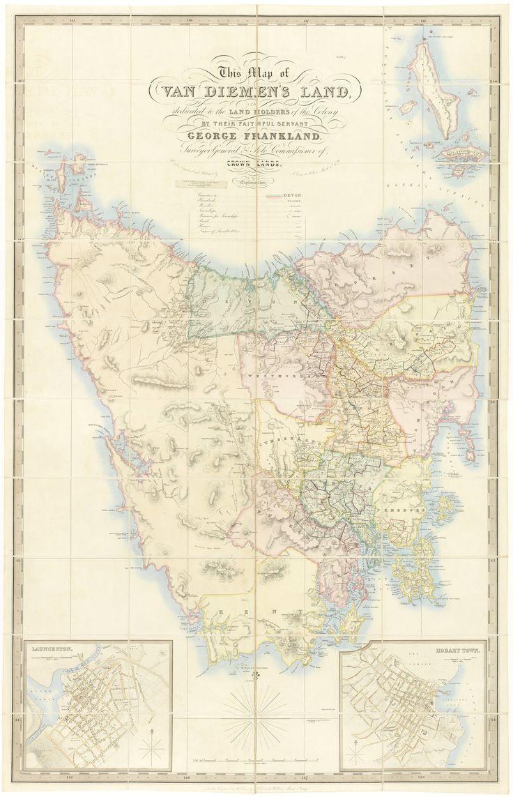 'Frankland Map' - 1839 Map of Van Diemen's Land (now Tasmania)