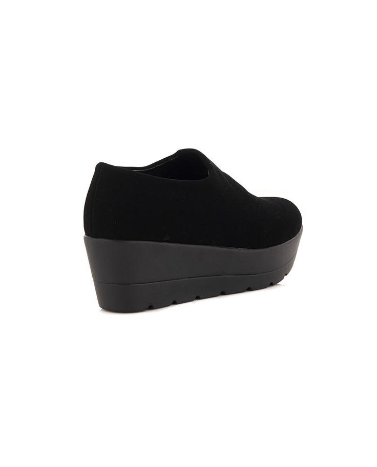 NR|RAPISARDI SUEDE SHOES Black suede shoes rubber sole conical toe  Wedge: 5 cm