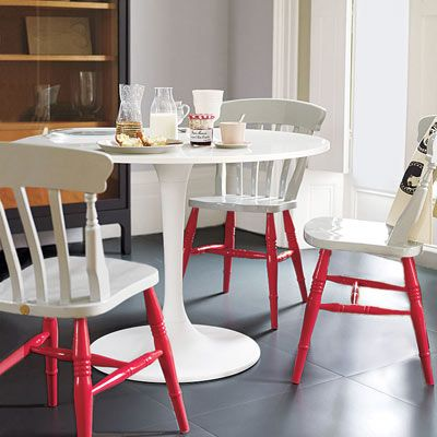 How to transform even an ordinary dining room set by perking up the legs of your chairs with a coat of cheerful color. | Polly Wreford/IPC Images Photo: | thisoldhouse.com