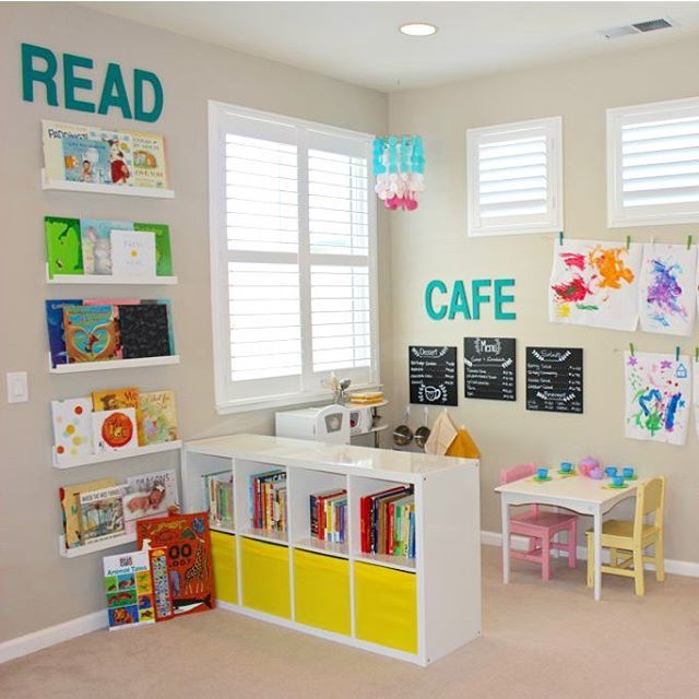 "2,091 Likes, 55 Comments - Project Nursery (@projectnursery) on Instagram: ""Raise your hand if toys and books are taking over! This playroom is not only functional but…"""