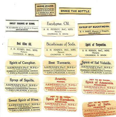 vintage chemist labels