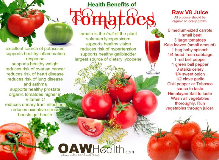 The natural health benefits of tomatoes are varied and many. For example, tomatoes are an excellent source of vitamin C, vitamin A, and vitamin K.